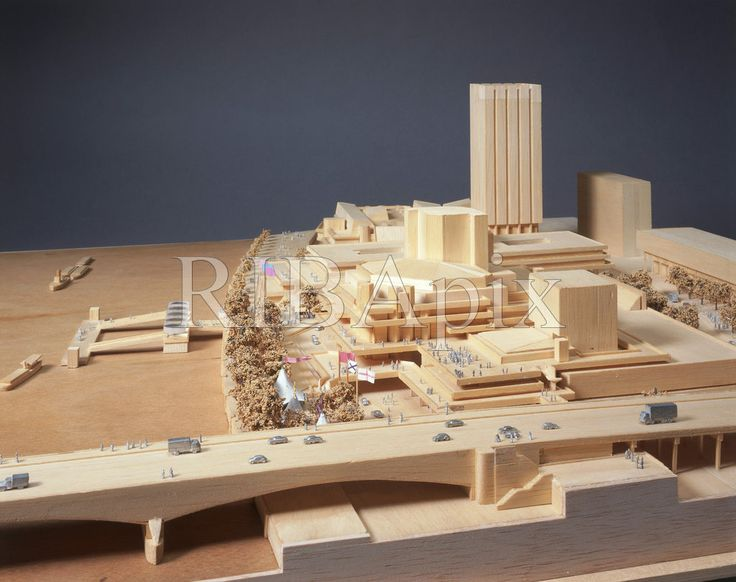 A design model of the Royal National Theatre on the South Bank, London - showing the theatre in relation to surrounding buildings, Waterloo Bridge and the River Thames. KR. (Denys Lasdun & Partners, 1970) [RIBA28557]