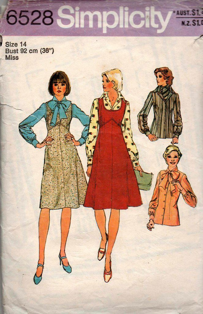 ad08c3f63b Simplicity 6528 Womens Blouse Jumper   Scarf 70s Vintage Sewing Pattern  Size 14 Bust 36 inches