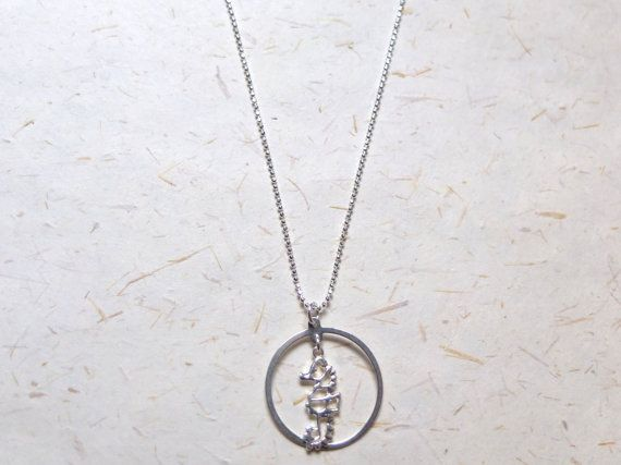 FREE SHIPPING Sterling silver 925 round loop frame Necklace  by OakbyLF