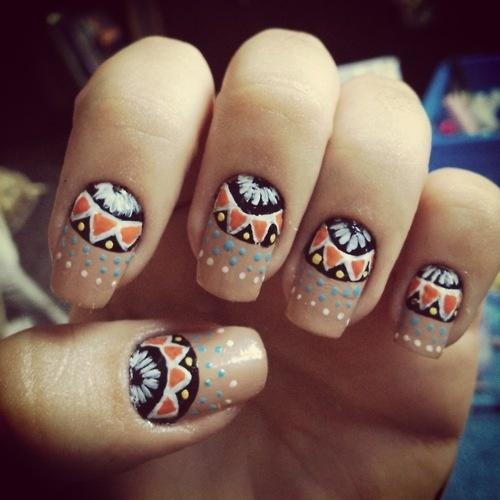 Tribal nails, Aztec print nail art.  Dots #dotticure. Great color combination and design!