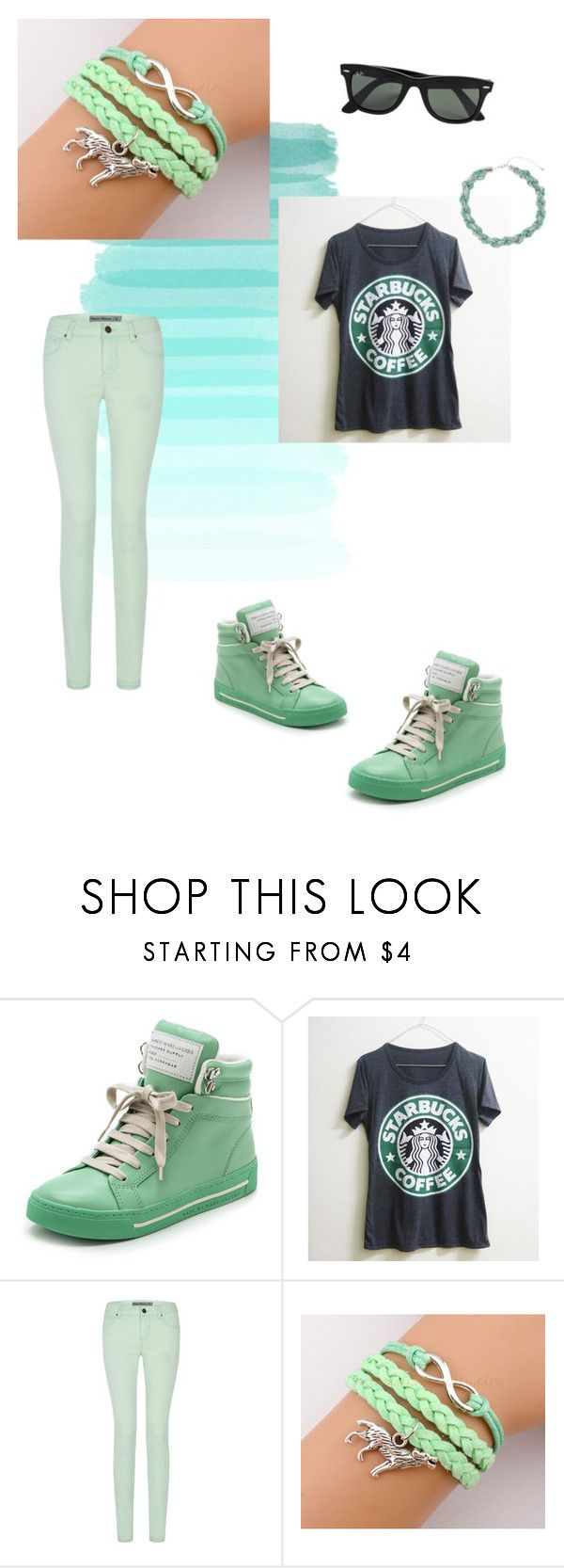 """Mint green outfit"" by super16 ❤ liked on Polyvore featuring GUESS, Marc by Marc Jacobs, Ray-Ban and Dorothy Perkins"