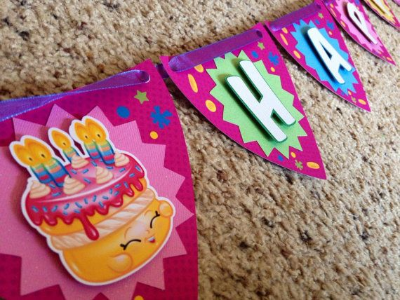 Shopkins Happy Birthday Banner, Shopkins Party Banner   Shopkins Happy Birthday are a fun way for decorate at your kid Birthday Party.   The Door