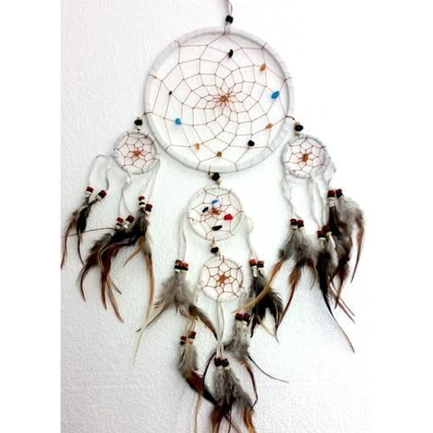 White Leather Dream Catcher - Traditional - The Hippie House