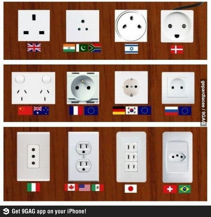 Plugs around the world. As an Aussie I find it really weird no other countries have switches, it seems like a fundamental element of a socket...