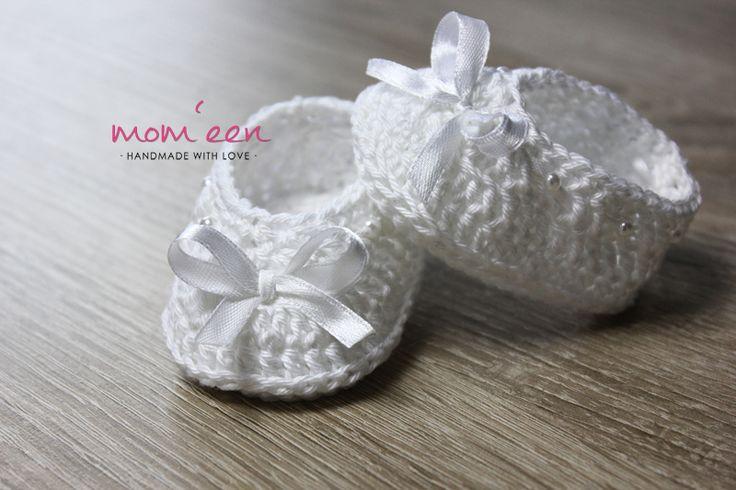 Baby Mokassins Amina mit Satinschleife weiß 0-3 Monate
