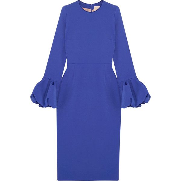 Roksanda Crepe midi dress (1,675 CAD) ❤ liked on Polyvore featuring dresses, royal blue, blue midi dress, blue sleeve dress, blue dress, sleeved dresses and royal blue color dress