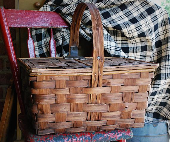 FREE SHIPPING!!  Antique Bentwood Handle Picnic Basket - Rare Design and Construction - Rustic Farmhouse Split Wood Basket - Primitive Treen