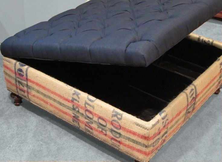 DIY Tufted Top Storage Ottoman with Repurposed Coffee Sacks - 25+ Best Ideas About Storage Ottoman Coffee Table On Pinterest