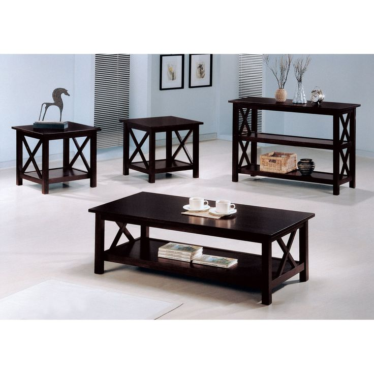 Coaster Furniture 3 Piece Coffee Table Set - Dark Merlot - 5909