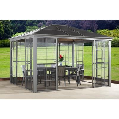 gazebo home depot sojag inc costa verde 10 feet x 12 feet taupe solarium aluminum with 4 sliding. Black Bedroom Furniture Sets. Home Design Ideas