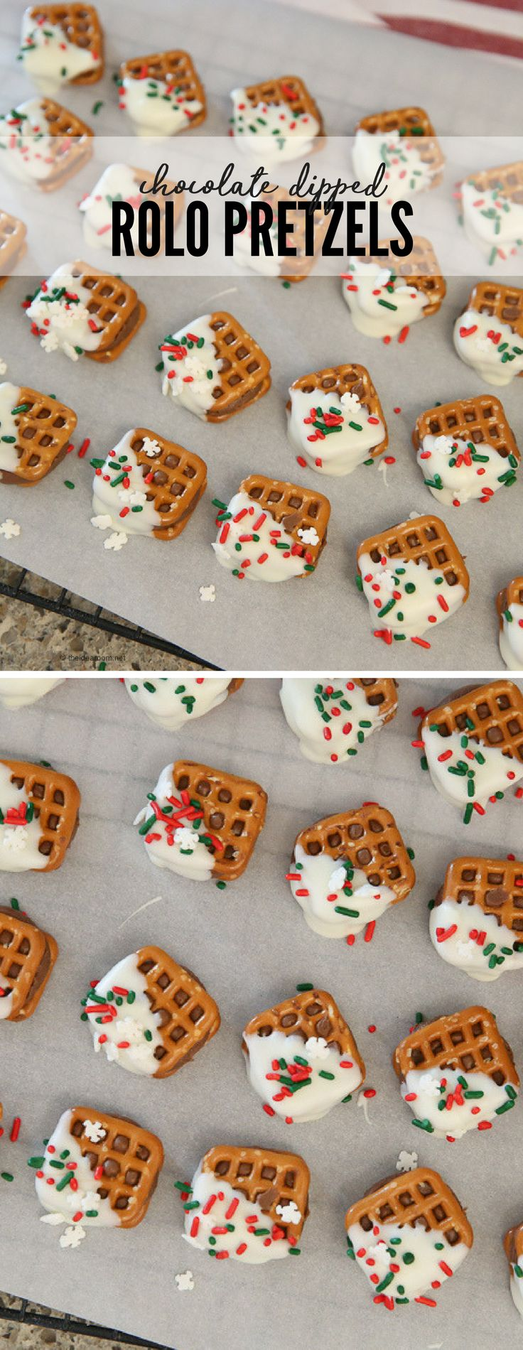 Homemade Candy Desserts | Christmas Candy | Make some Chocolate Dipped Rolo Pretzels for your neighbors and friends this holiday season.