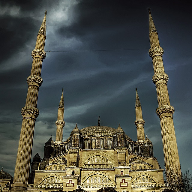 Selimiye Mosque. This is located in Turkey. The mosque was built by architect Mimar Sinan. It was built between 1569 and 1575.