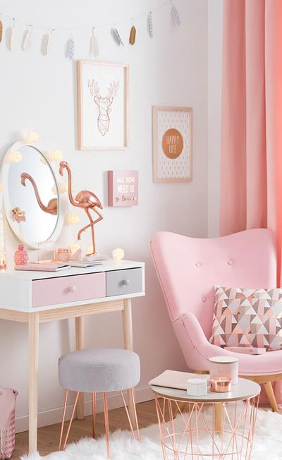 MAISONS DU MONDE   modern copper  Girls Pink Bedroom IdeasCute. The 25  best Pink and gold wallpaper ideas on Pinterest   Pink