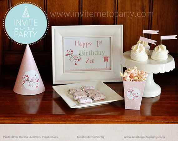 Pink Little Birdie Party Decoration Printables by InviteMe2Party, $18.00