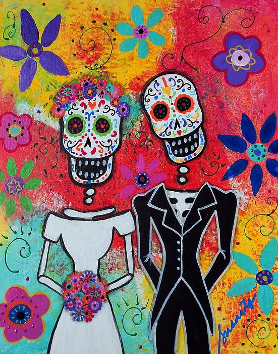 Wedding Day Of The Dead Painting Fine Art Print Dia De Los Muertos Pinterest And