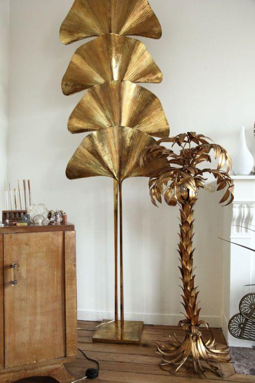 sculptures végétales dorées art déco salon delphine crech'riou
