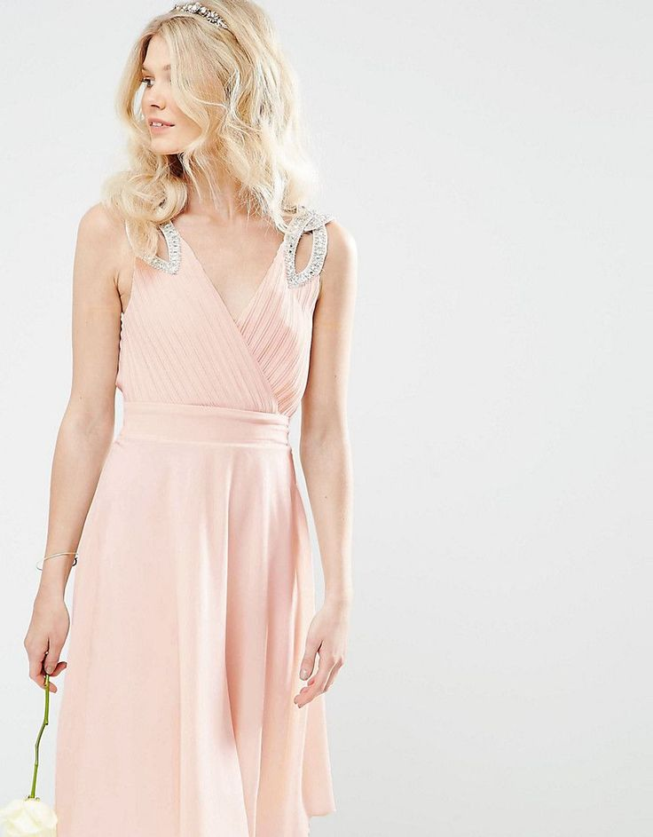 Get this TFNC Petite's cocktail dress now! Click for more details. Worldwide shipping. TFNC Petite WEDDING Prom Midi Dress With Embellished Shoulders - Pink: Petite dress by TFNC, Woven fabric, Wrap front, V-neckline, Embellished shoulders, Pleated top, Zip back closure, Regular fit - true to size, Machine wash, 100% Polyester, Our model wears a UK 8/EU 36/US 4. London label TFNC is renowned for its standout occasionwear. Step it up in sparkly fabrics, embellished styles and party-prepped…