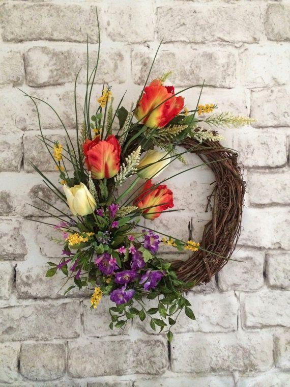 Tulip Wreath, Spring Wreath, Spring Door Wreath, Spring Decor, Front Door Wreath, Silk Floral Wreath, Summer Wreath, Grapevine Wreath, Beautiful Wreath, Wreath on Etsy, by Adorabella Wreaths!