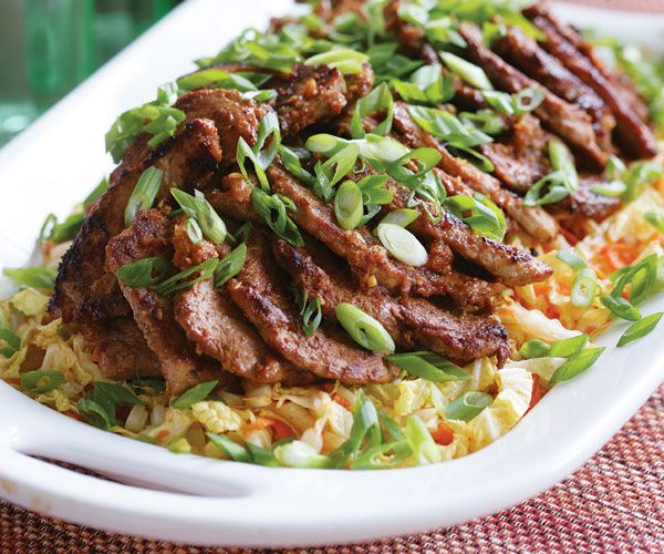Spicy Korean-Style Pork Medallions with Asian Slaw Recipe - THUMBS UP ALL AROUND!!