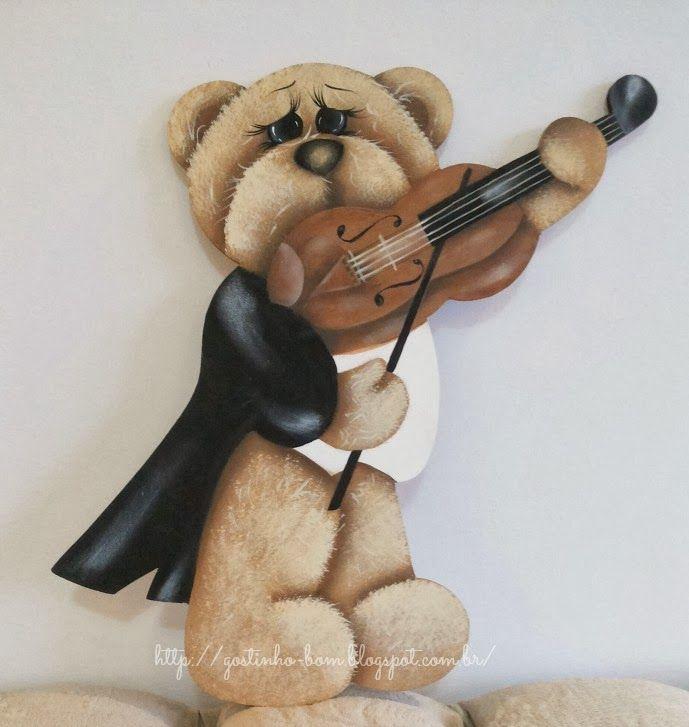 Gostinho Bom: Pintura decorativa - Urso com violino