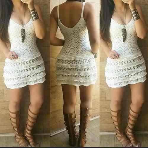 vestido de croche com babado                                                                                                                                                      Mais