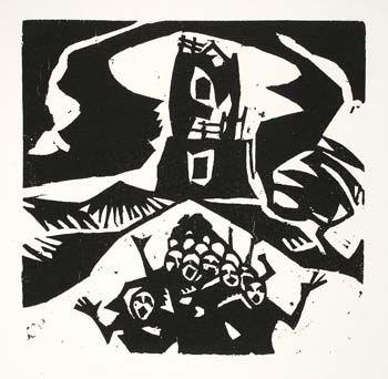 Stanisław Kubicki, Wieża Babel, 1917, linoryt, 17,8 x 18,2 cm, nr inw. Gr.W.6740, dar Dominika Witke-Jeżewskiego 1928