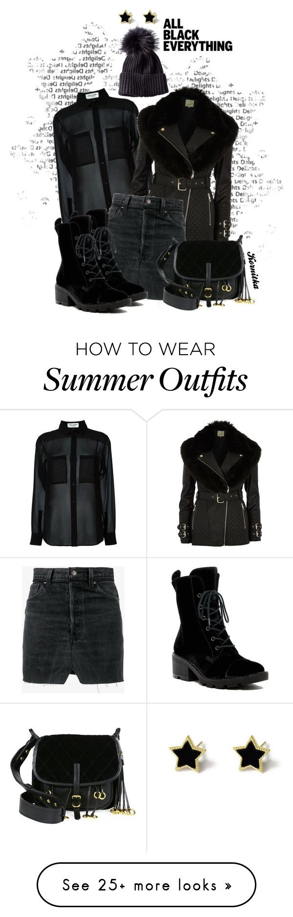 """""""nr 2123 / My Winter Idea"""" by kornitka on Polyvore featuring Yves Saint Laurent, River Island, Vetements, Kendall + Kylie, Prada, denim, combatboots and allblackoutfit"""