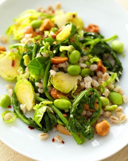 This take on fried rice has less saturated fat, but more protein and fiber: Barley with Brussels Sprouts, Spinach, and Edamame, Wholeliving.com #healthylunches