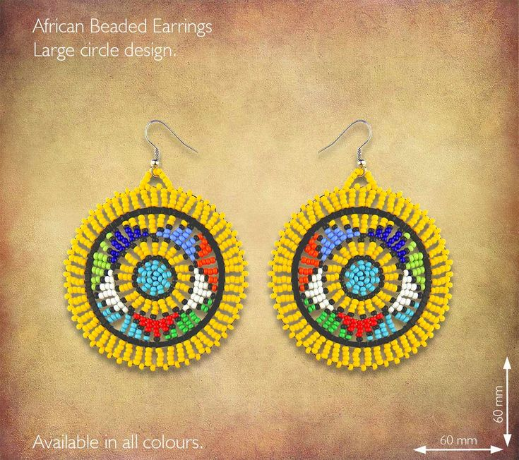 African Beaded Earrings - Large Circle design. Traditional African Earrings handmade in South Africa by highly skilled Zulu Beadworkers.. Wide range of African Beaded Jewelry available on our website www.earthafricacurio.com