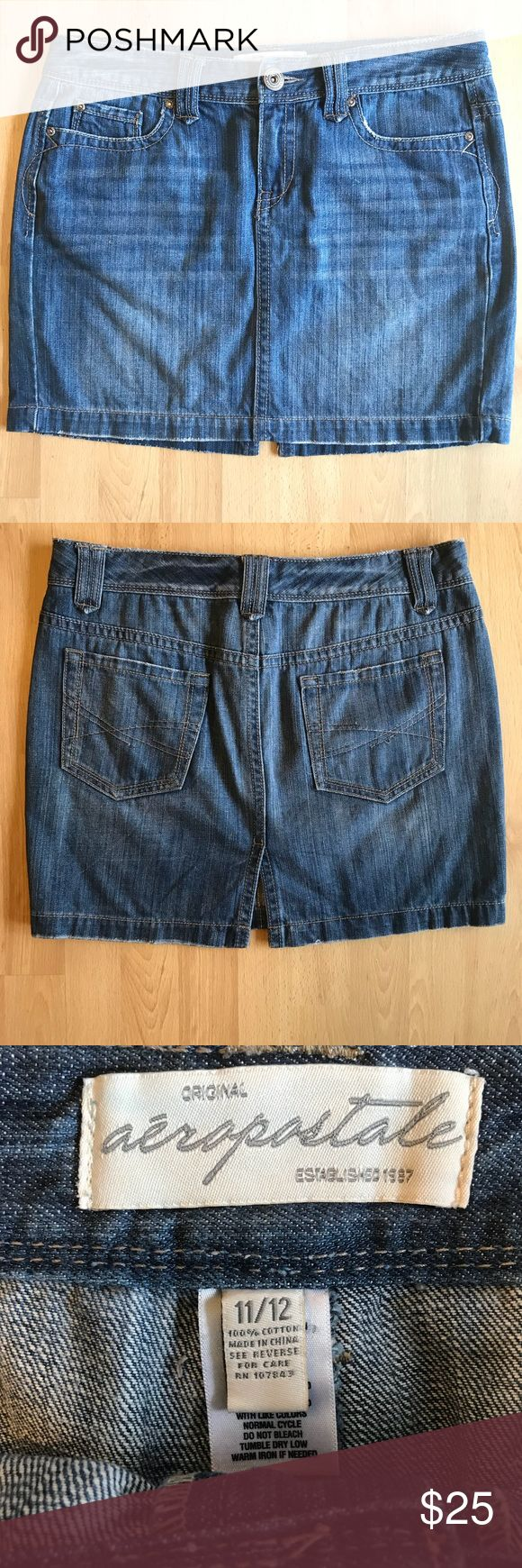 "Aeropostale Denim Mini Skirt Size Large Excellent condition. Size 11/12. Zipper and button closure. Ships fast!  Approximate measurements laying flat: Waist: 17"" across Hips: 20"" across Length 16"" Aeropostale Skirts Mini"