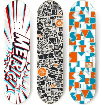 Skateboard design. I like the way the logotype on the left has impact look to it makes the board very catchy!