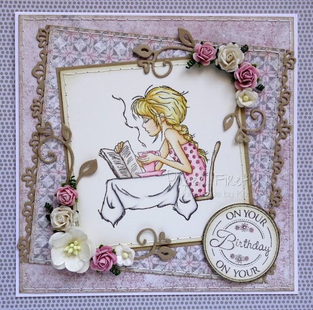 Handmade card in soft grey/pink featuring girl with coffee (image from LOTV)