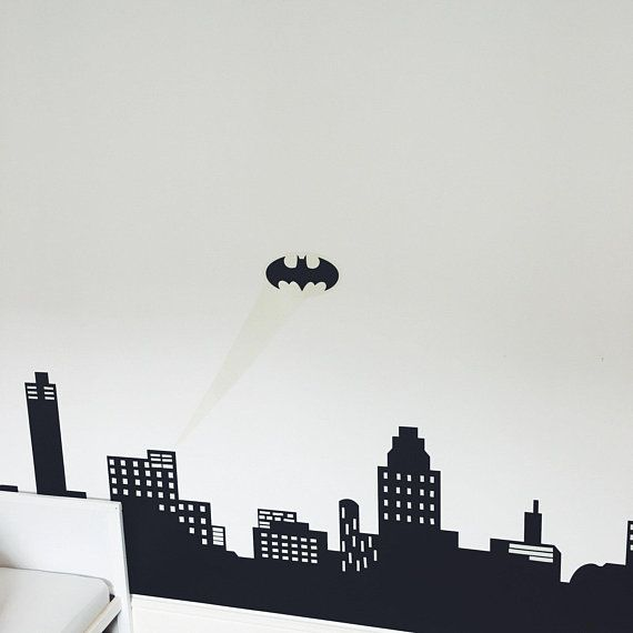 glow in the dark batman wall sticker, cityscape wall decal