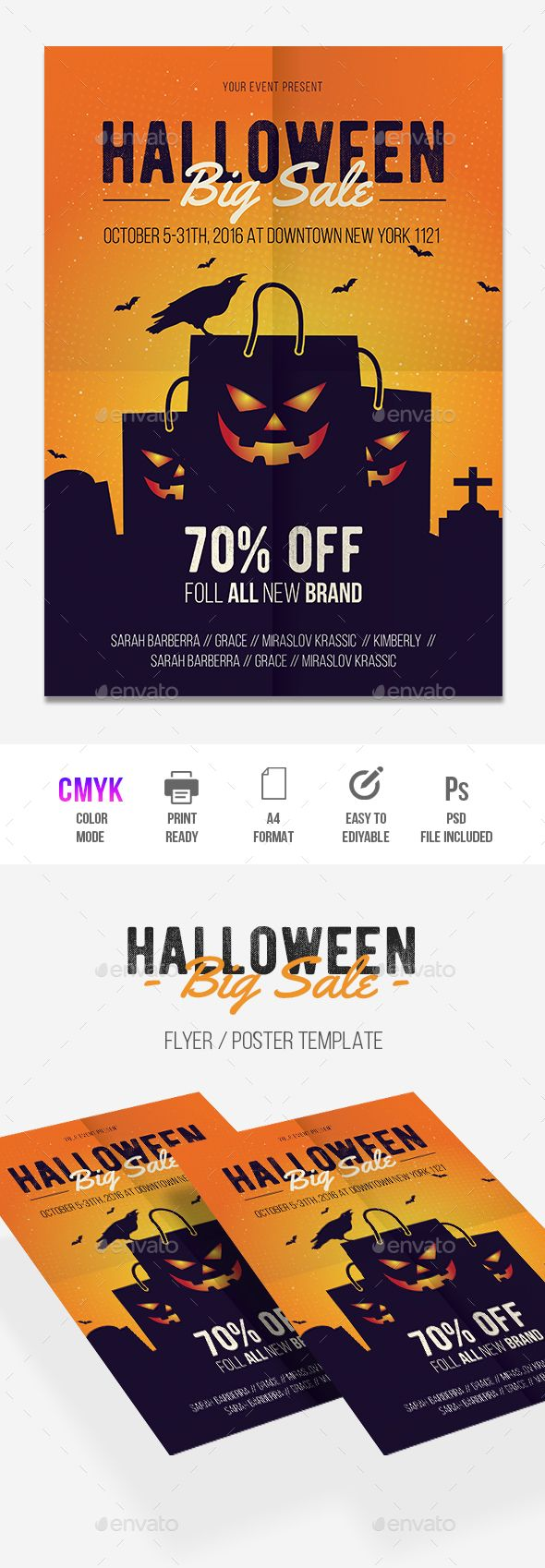 Halloween Sale Flyer Design Template - Holidays Events Flyer Template PSD, AI Illustrator. Download here: https://graphicriver.net/item/halloween-sale/17913955?ref=yinkira