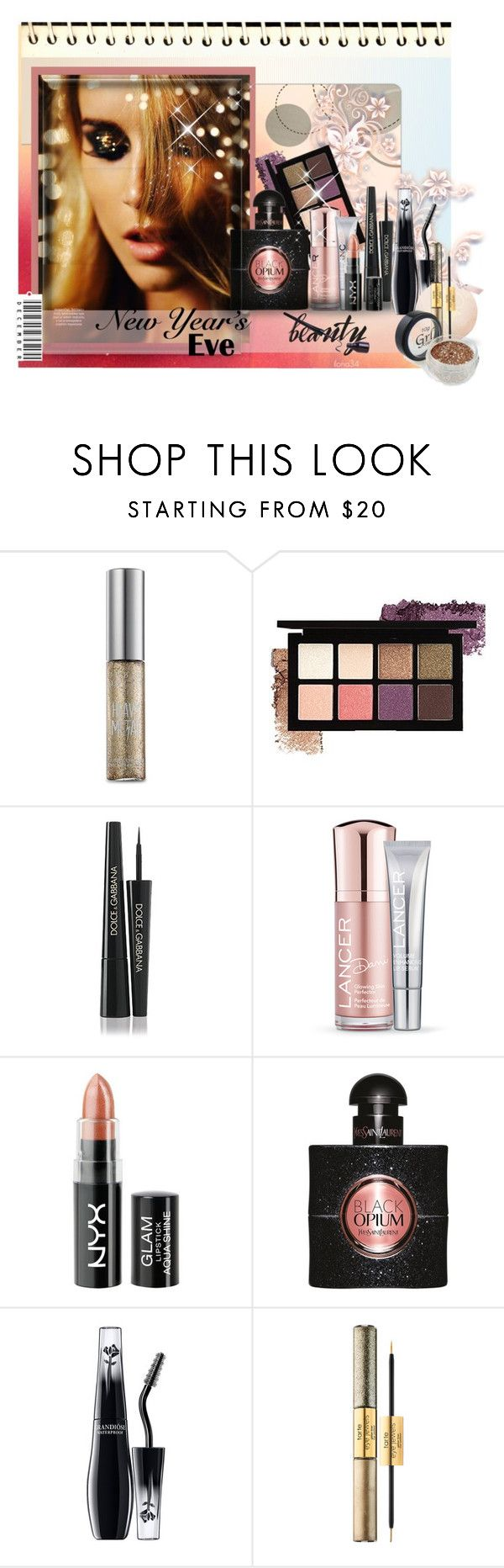 """""""Sparkly New Years"""" by ilona2010 ❤ liked on Polyvore featuring beauty, Urban Decay, Dolce&Gabbana, Lancer Dermatology, Yves Saint Laurent, Lancôme and tarte"""