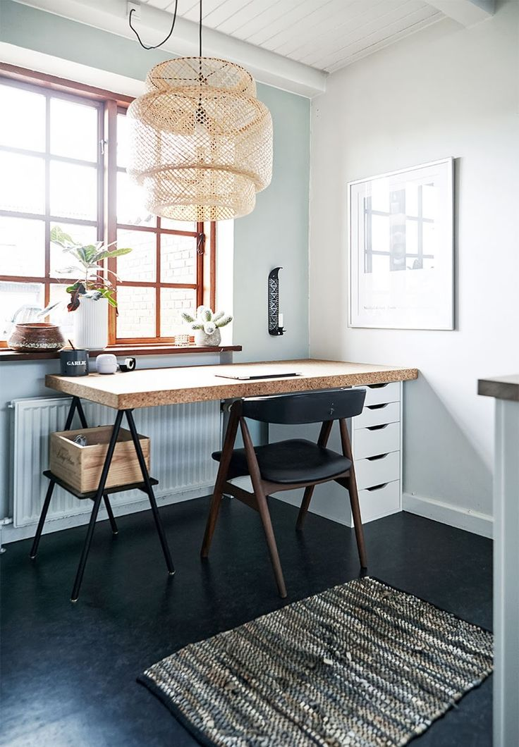 black painted floor, home workplace, cork table, mid century chair, home office ideas