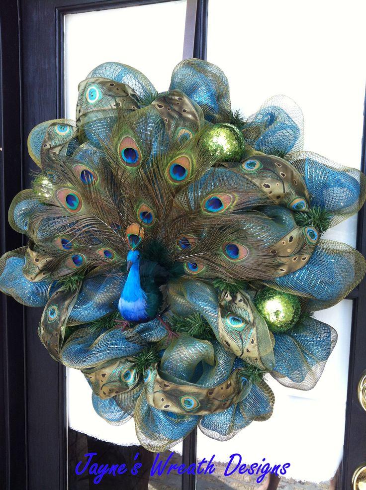 Peacock Wreath by Jayne's Wreaths Designs. Love her wreaths! See her on FB www.facebook.com/jayneswreathdesigns