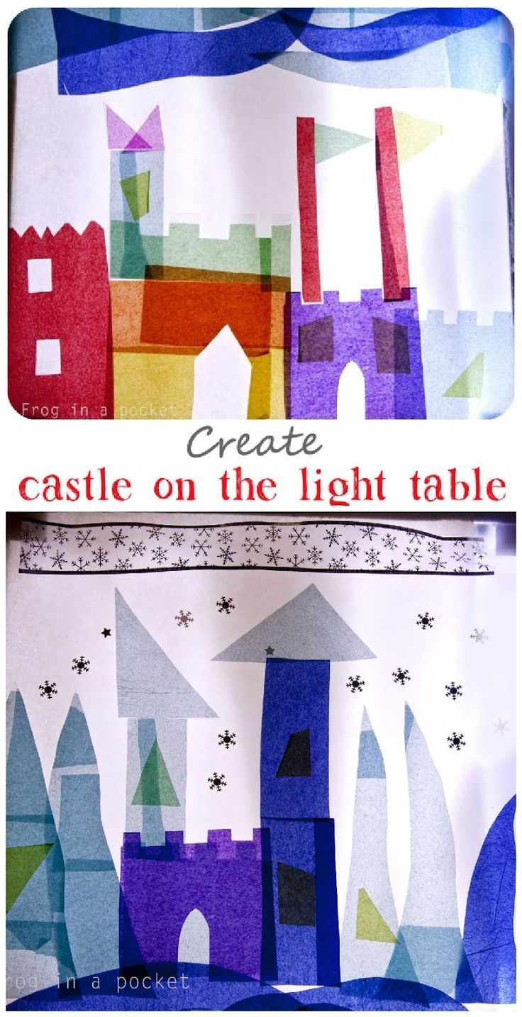 Frog in a pocket: Fairy castles on the light table. #ECE #play