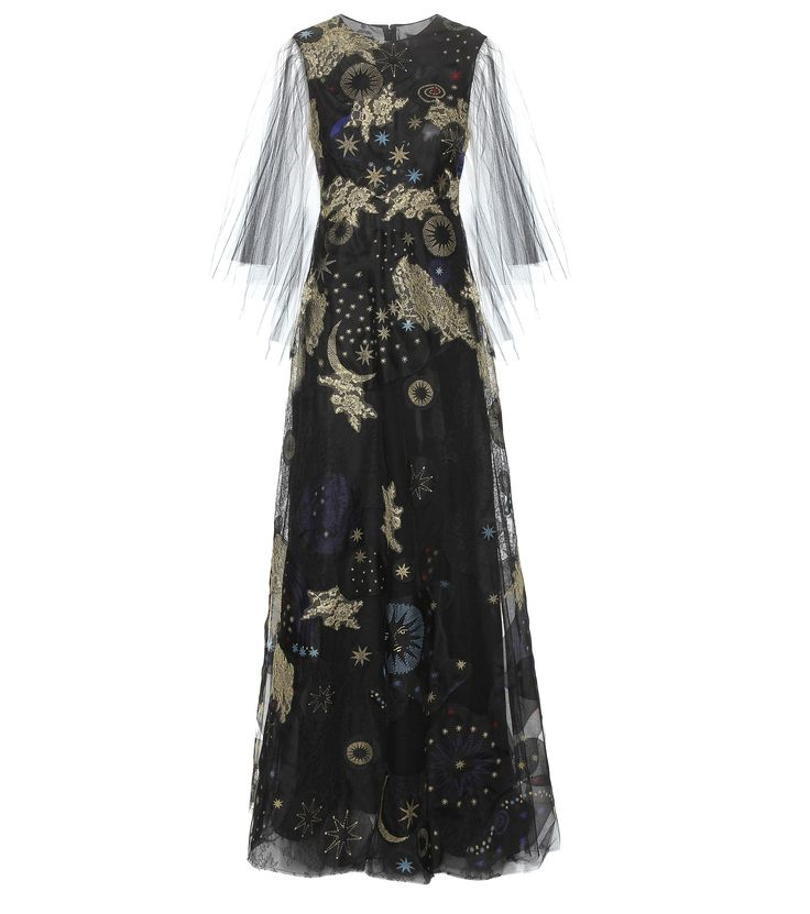 Black and gold-tone embroidered printed gown