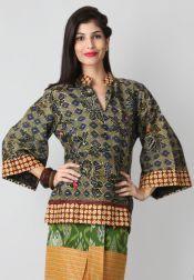 TRE Batik  TRE Batik Blouse Chinese Kimono Hijau
