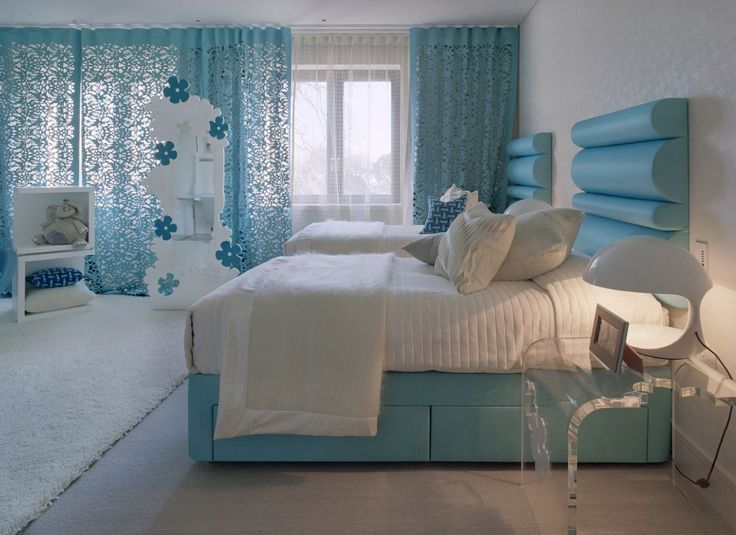 Using on-trend turquoise and white you can create a beautiful bedroom which is chic and very stylish. Choose mid tone turquoise, rather than the brighter shades, and scale up pattern with open-cut work, a statement headboard and a super king size bed.; terrysfabrics.co.uk
