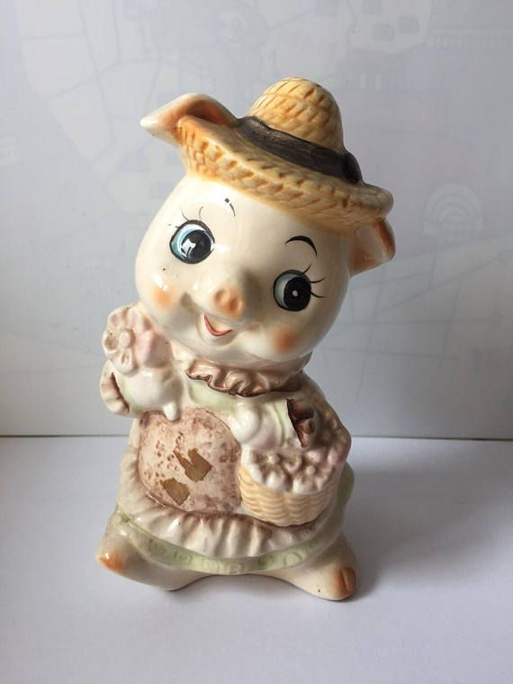 Vintage cute girl pig figurine coin bank porcelain  standing