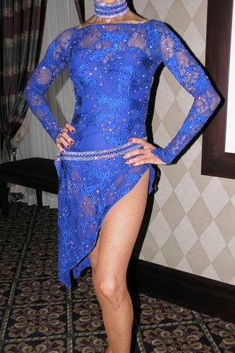 Blue Diedre of London Design Competition Costume for sale, Ballroom Dance Costumes for Sale, Latin Competition Costume for sale
