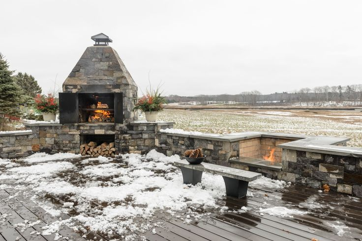 The masonry oven allows the Corrys to extend Maine's all-too-fleeting season for outdoor cooking; in fact, they use it year-round.