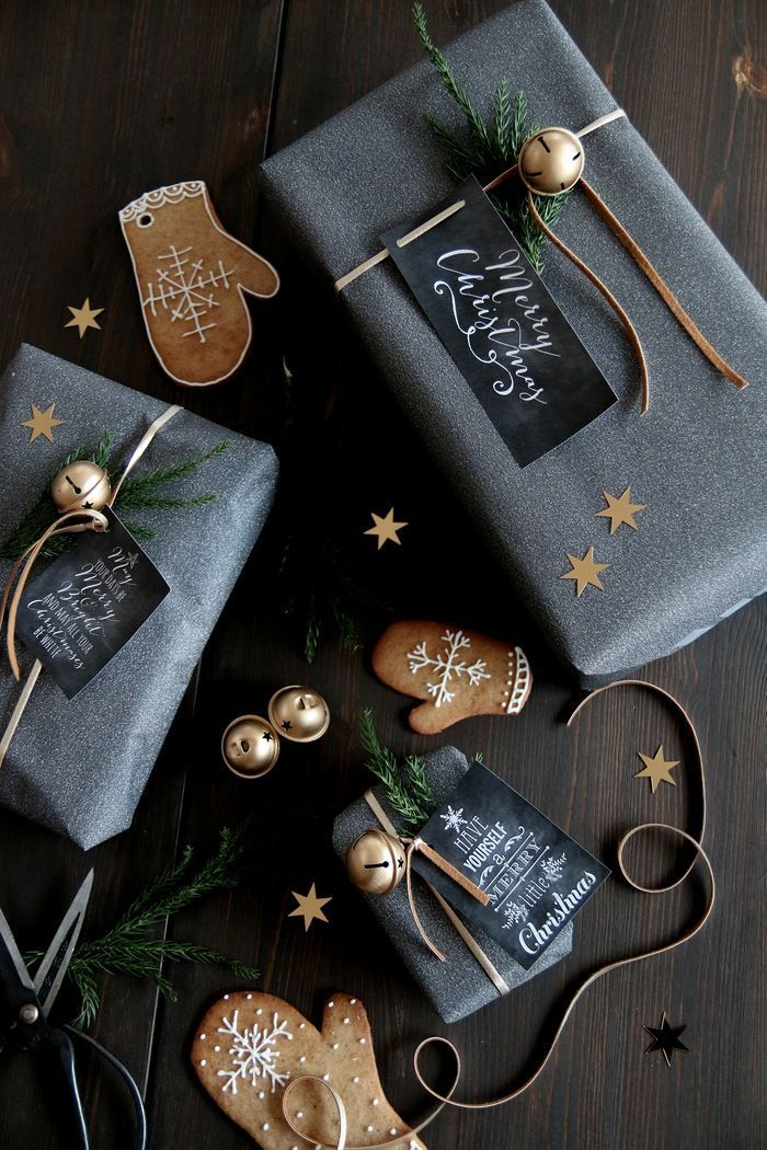 Lovely Holiday wrapping ideas! love the gingerbread cookies. – michaela de castro