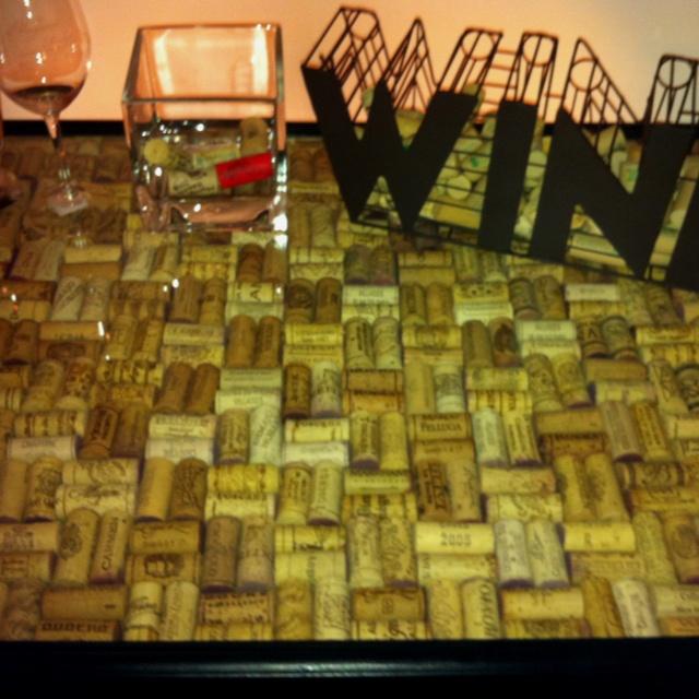 Bar top made of corks man room pinterest tops bar for Cork bar top