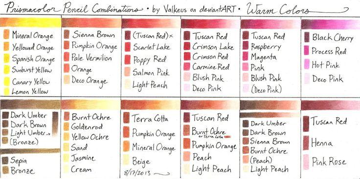 Prismacolor Pencil Combinations II - Warm Colors by Valkeus on deviantART