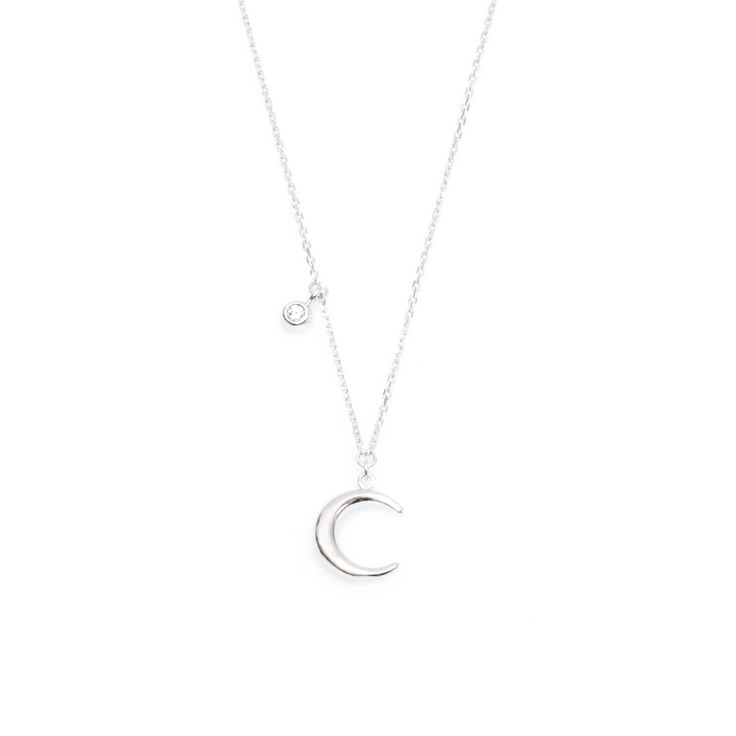 Delicate silver necklace with MOON and zirconia, WILD collection, ANIA KRUK jewelry