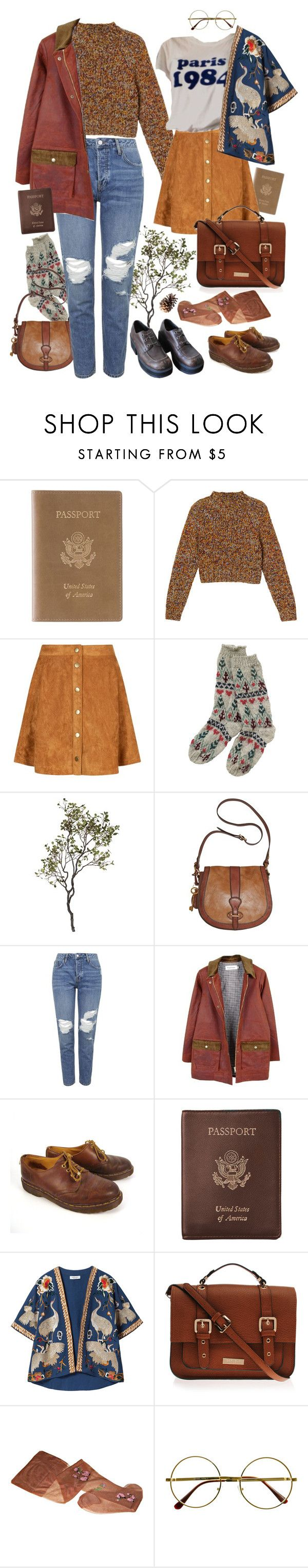 """let's go"" by paper-freckles ❤ liked on Polyvore featuring Royce Leather, Monki, Crate and Barrel, FOSSIL, Topshop, FrenchTrotters femme, Dr. Martens, Zara, Carvela Kurt Geiger and Retrò"