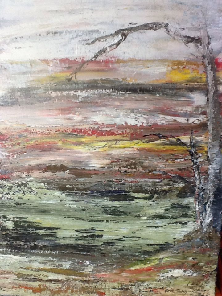 'Cold fields' by Britt- Helen Johnsen.  Oil on canvas.